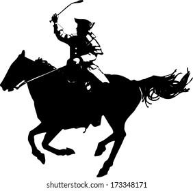 American revolutionary war soldier on horse silhouette
