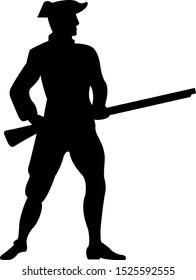 American revolutionary war soldier silhouette Vector illustration eps10