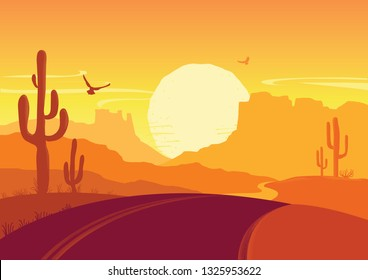 American road in desert nature background. Vector Arizona prairie landscape with cactuses