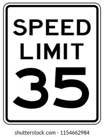 American road sign in the United States of America: speed limit at 35 mp / h- speed limited to thirty five miles per hours