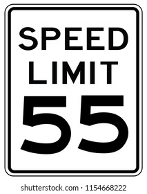 American road sign in the United States of America: speed limit at 55 mp / h- speed limited to fifty five miles per hours