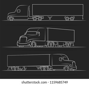 American road train silhouettes, outlines, contours. Side and perspective view of the semi truck with a trailer. Vector illustration isolated on black background