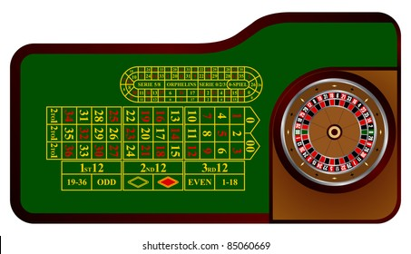 American roulette table in the vector
