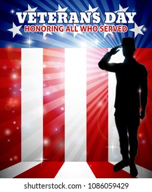 American saluting soldier with a patriotic Veterans Day red, white and blue flag background