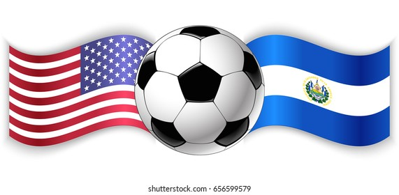 American and Salvadoran wavy flags with football ball. United States of America combined with El Salvador isolated on white. Football match or international sport competition concept.