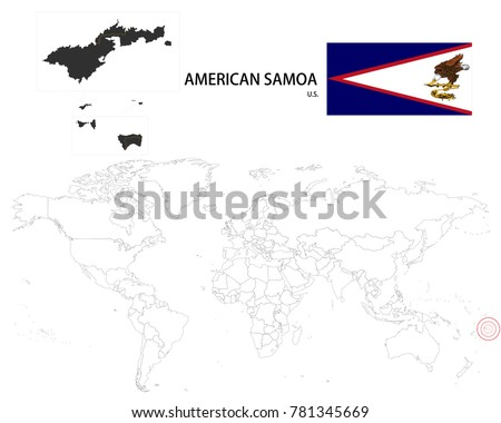 American Samoa US Map On World Stock Vector (Royalty Free) 781345669 ...