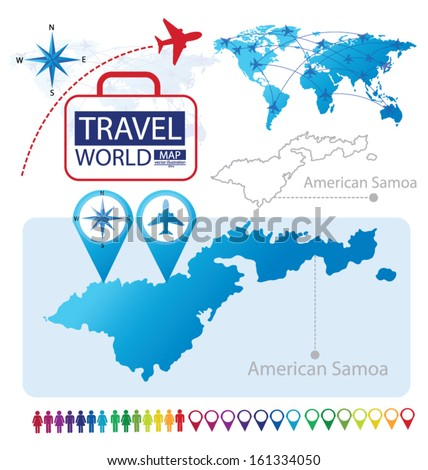 American Samoa World Map Travel Vector Stock Vector (Royalty Free ...