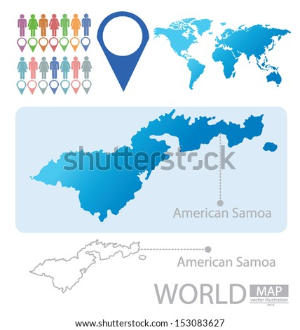 American Samoa World Map Vector Illustration Stock Vector (Royalty ...