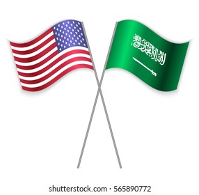 American and Saudi Arabian crossed flags. United States of America combined with Saudi Arabia isolated on white. Language learning, international business or travel concept.