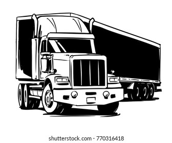 American Semi-trailer truck. Black and white illustration
