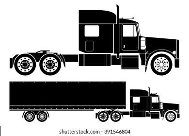 American semi-truck vector