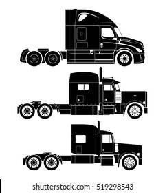 American semi-truck vector set