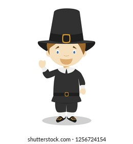 American settler cartoon character. Vector Illustration. Kids History Collection.