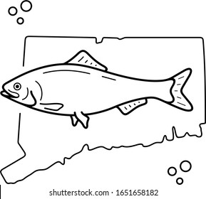 American Shad. Connecticut State symbol. Vector outline icon.