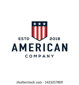 American shield logo design concept. Universal shield logo.