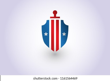 american shield and sword army soldier logo template