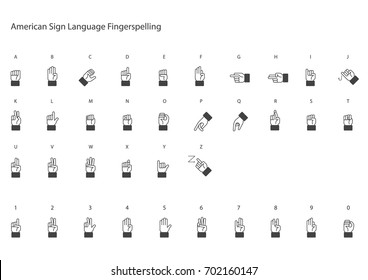 American sign language fingerspelling vector.
