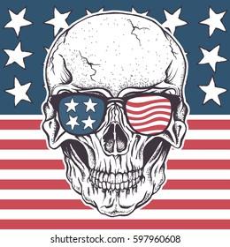 American skull in sunglasses on USA flag.Vector illustration