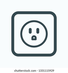 American socket linear icon, electric socket outline vector icon