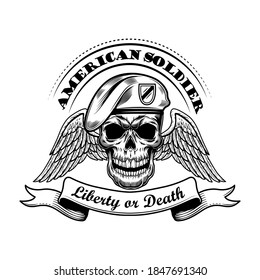 American soldier in beret vector illustration. Skull with wings and liberty or death text. Military or army concept for emblems or tattoo templates