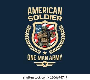 American  soldier, fighter, veteran t-shirt design.