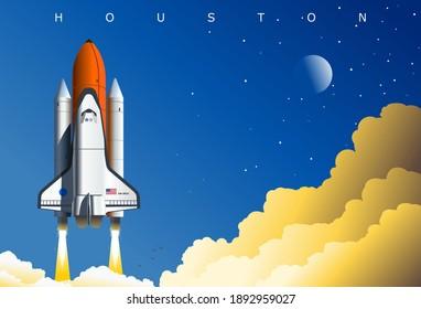 American Space Shuttle-Start, symbolische Illustration, Houston, TX, USA. Concept Art Poster widmet sich der Weltraumforschung und dem US-Raumfahrtprogramm.