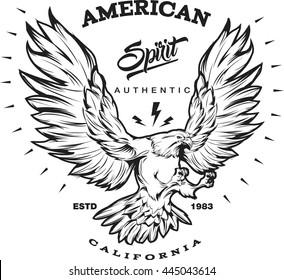 American spirit monochrome emblem with portrait of eagle during flight or landing lightning sign rays vector illustration