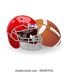 American sport. Helmet and ball. Protection and power.