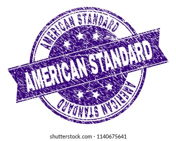 AMERICAN STANDARD stamp seal imprint with grunge texture. Designed with ribbon and circles. Violet vector rubber print of AMERICAN STANDARD title with scratched texture.