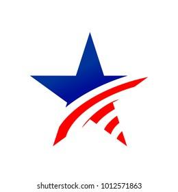 American Star Creative Symbol Vector Graphic Design