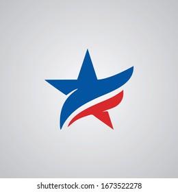 American Star Logo Design Template Vector Icon.Isolated Vector Illustration