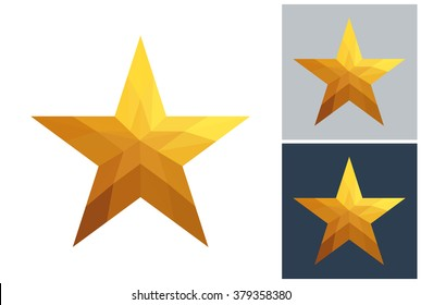 American star vector in gold low poly style on white, gray and dark background.