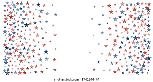 American stars confetti with grunge texture. Vector Illustration for Celebration Holiday, a blue and red stars sparkles isolated on white. USA banner backdrop top and down borders