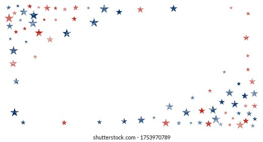 American stars confetti. Vector Illustration for Celebration Holiday, a blue and red stars sparkles isolated on white. USA banner backdrop top and down borders