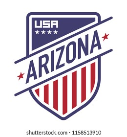 An American state crest in vector format. This shield features stars, stripes, and represents the state of Arizona.