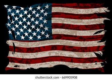 American striped flag on a black background