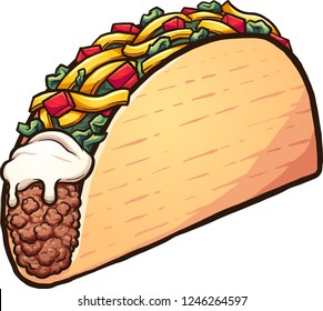 American style cartoon taco. Vector clip art illustration with simple gradients. All in a single layer.