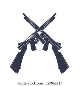 american submachine guns over white, two crossed retro firearms
