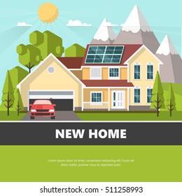 American suburban house. Family home. Flat design vector concept illustration.