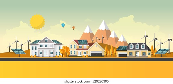 American suburban houses. Eco lifestyle background. Flat design vector concept illustration.
