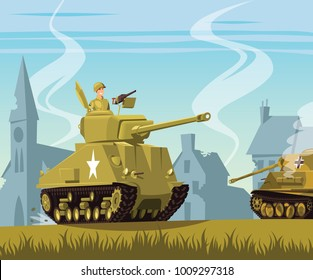 American tank on World War Two battlefield