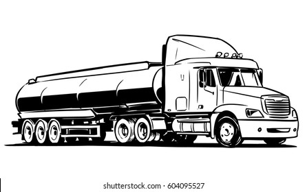 American Tanker Semi-truck Isolated on White