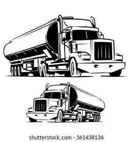 American tanker truck black and white illustration