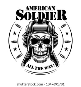 American tankman skull vector illustration. Heal of skeleton in tankman hat, circular frame with stars and bullets, all the way text. Military or army concept for emblems or tattoo templates