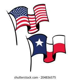 An American and Texas flag flying in the wind.