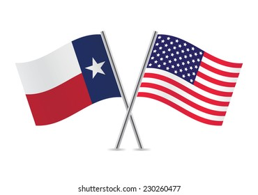 American and Texas flags. Vector illustration.