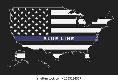 An American thin blue line flag symbolic of support for law enforcement.