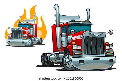 American Tractor Unit. Cartoon illustration