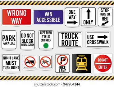 American traffic signs. Vector illustration of traffic signs.