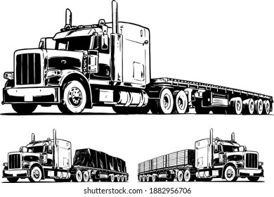 American Truck with Flatbed Trailer. Black and White vector illustration